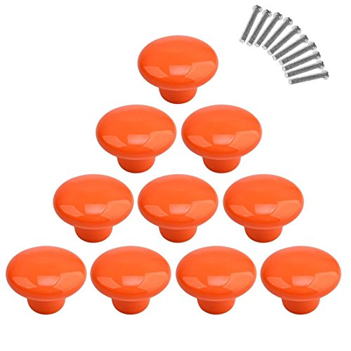 10Pcs Dresser Knobs, YIFAN Cute Drawer Puls for Kids' Room Ceramic Door Cabinet Handles - Orange