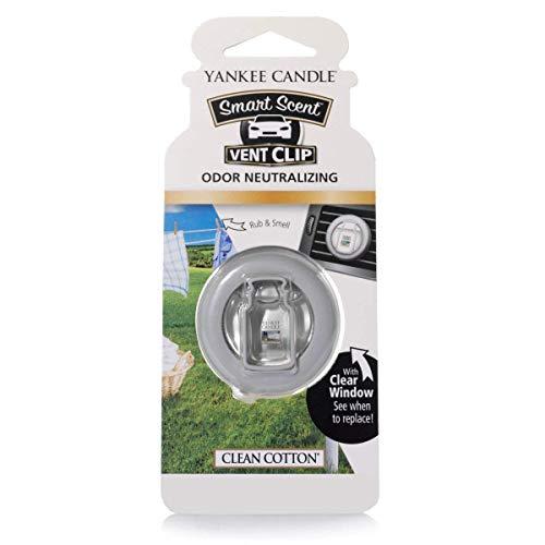 Yankee Candle 1304391E Ambientador para coche con sujeción a las rejillas de ventilación, Algodón blanco, White, 0.1x6.6x18.2 cm