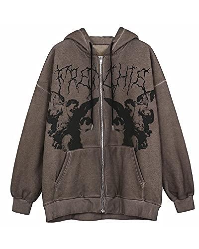 Womens Y2K Face Portrait Print Hoodie Long Sleeve Zipper Loose Cardigan Sweatshirt with Pocket 90s E-Girl Streetwear D-brown