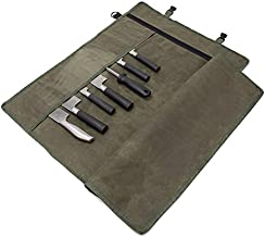 """Chef's Knife Roll Bag, Waxed Canvas Knife Cutlery Carrier, Portable Chef Knife Cases, Knife Pouch Holders With 10 Slots Plus 1 Zipper Pockets Can Hold Home Kitchen Knife Tools Up To 18.8"""" (Army Green)"""