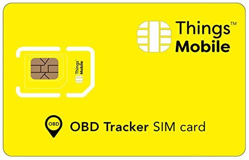 SIM-Karte OBD / OBD2 GPS TRACKER - Things Mobile - mit weltweiter Netzabdeckung und Mehrfachanbieternetz GSM/2G/3G/4G. Ohne Fixkosten und ohne Verfallsdatum. 10 € Guthaben inklusive
