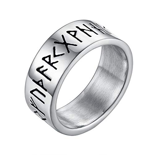 Valily Mens Viking Rune Ring Silver Stainless Steel Amulet Jewellry Gift Nordic Viking Band Ring Size T 1/2