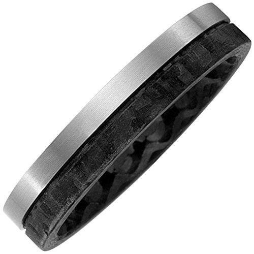 Jobo Damen-Ring aus Carbon und mattem Titan Größe 62