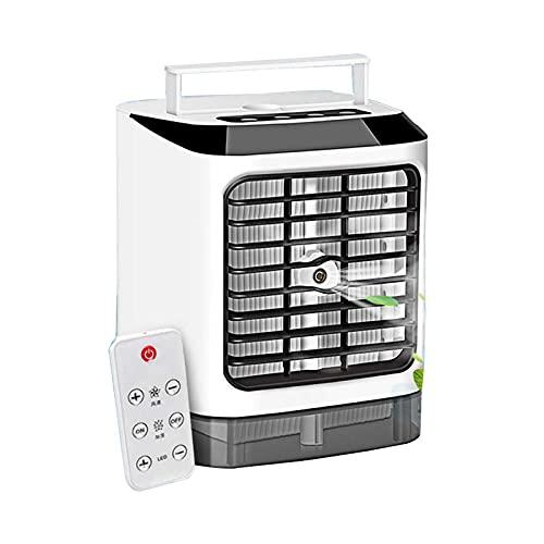 JIASHIQI Condizionatore d'Aria Portatile ,7 Colori LED Raffreddatore d'Aria Ventola Mini 3-in-1 Umidificatore Purificatore USB Desktop Remote Controller Condizionamento (Color : White)