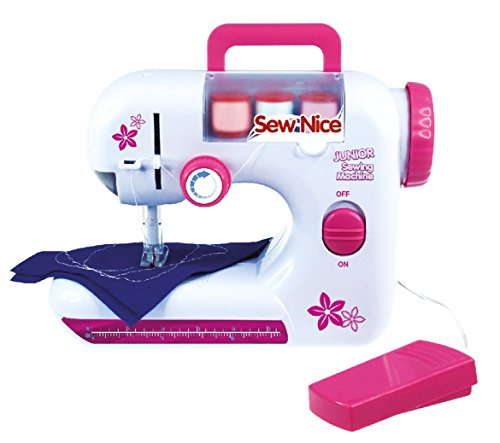 Lena 42521 Sewing Machine, Handle, Battery Run, Foot Pedal, Hand Wheel, Guard, Switch, lamp, aid, Thread, Needle, Measuring Tape, for Children from 8 Years of Age, Plastic, Colourful