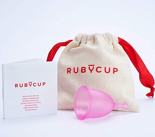 Ruby Cup - Copa menstrual reutilizable (flujo intenso, cérvix alto, tamaño M)– ROSA – Incluye donación de copa. Perfecta para principiantes. Una alternativa a los tampones/compresas práctica y fiable.