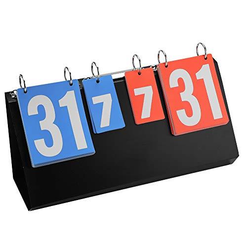 Broco Marcador de 4 Dígitos, Cuadro de Indicadores de la Competencia Deportiva de 4 dígitos Cuadro de Indicadores para Tenis de Mesa Baloncesto Bádminton Marcador de volteo portátil