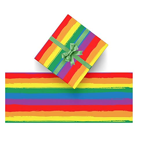 CUXWEOT Gift Wrapping Paper Rainbow Gay Pride for Christmas,Birthday,Holiday,Wedding,Gifts Packing - 3Rolls - 58 x 23inch Per Roll