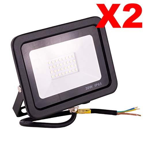 POPP® Foco Proyector LED 30W para uso Exterior Iluminación Decoración 6000K luz fria Impermeable IP65 Negro y Resistente al agua.PACK x2 (30)