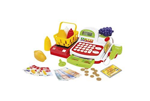 Funny Home - Caja registradora con 27 accesorios – Caja de supermercado de juguete para niños, con escáner, cinta transportadora, billetes, monedas y otros accesorios – Juegos para niños
