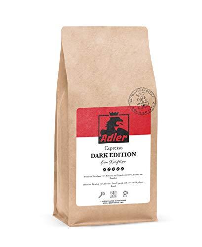 Adler Kaffee Dark Edition - Kräftige Premium Espresso-Bohnen aus 75% Robusta und 25% Arabica - Für Siebträger und Vollautomat - 1-Kg Kaffee-Bohnen