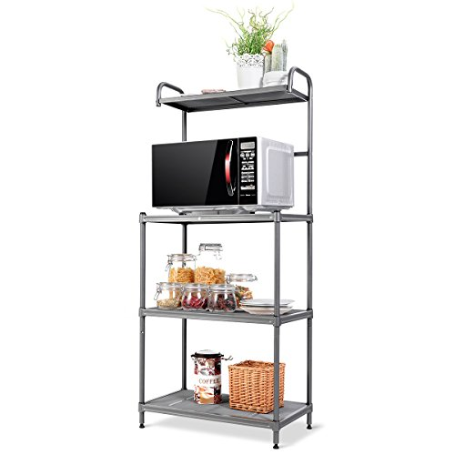 Giantex 4-Tier Kitchen Microwave Storage Rack Oven Stand Strong Mesh Wire Metal Shelves Free Standing Baker's Rack Shelving Utility Unit, 23.5' Lx14 Wx54 H (Silver)