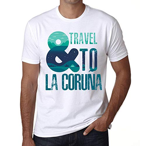Hombre Camiseta Vintage T-Shirt Gráfico and Travel To LA CORUÑA Blanco