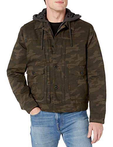 Lucky Brand Men's Stark Button Front Jacket with Exposed Fleece Hood, Camouflage, X-Large
