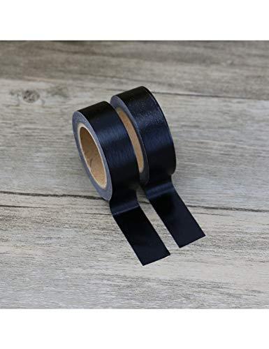 JEMKJ Washi Tape Cinta Adhesiva De Color Sólido Negro Liso 1.5Cm * 10M Herramientas De Álbum De Recortes Kawaii Cinta Decorativa Decorativa Cinta De Papelería