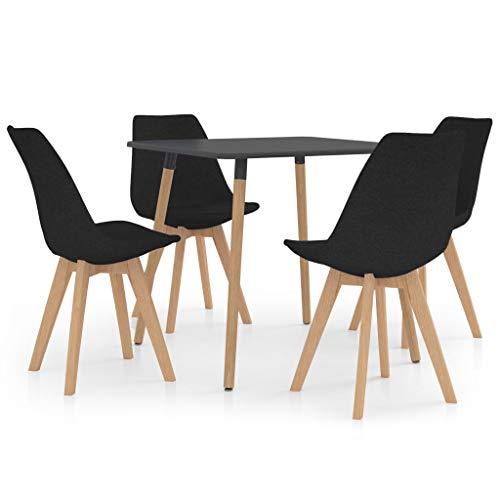 vidaXL Juego de Comedor 5 Piezas Muebles Mobiliario Exterior Cocina Hogar Terraza Mesa Silla Asiento Suave Decoración Moderno con Respaldo Negro