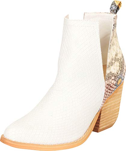 Cambridge Select Women's Western Pointed Toe Side V Cutout Chunky Stacked Block Heel Ankle Bootie,6 B(M) US,White/Multi Snake PU