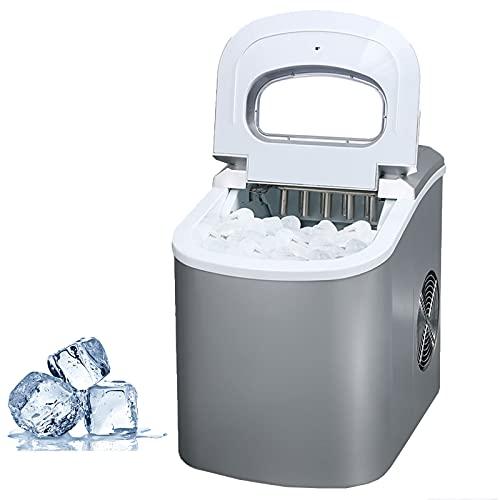 La Máquina De Hielo Portátil De 105 W para Encimeras Puede Producir Cubitos De Hielo En 6 Minutos Y 26 Libras De Hielo En 24 Horas. con Pantalla LED,Gris