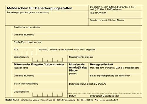 Meldeschein für Beherbergungsstätten – DIN A 6 - alle Bundesländer –Hinweis auf EU-DSGVO – neu nach Bundesmeldegesetz – 100 Blatt