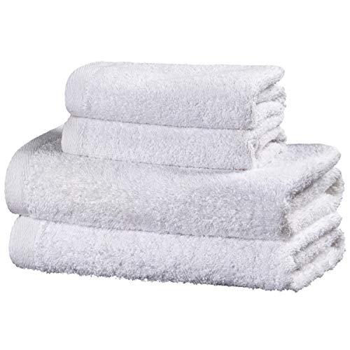 Viste tu hogar Juego de 4 Toallas Hechas 100% de Algodón, Incluye 2 Toallas de Baño y 2 de Manos, Suaves y Absorbentes, Ideales para Uso Diario y Decoración, en Color Blanco.