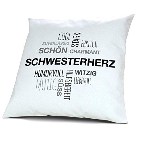 printplanet Kopfkissen mit Namen Schwesterherz - Motiv Positive Eigenschaften Tagcloud Schwarz, 40 cm, 100% Baumwolle, Kuschelkissen, Liebeskissen, Namenskissen, Geschenkidee