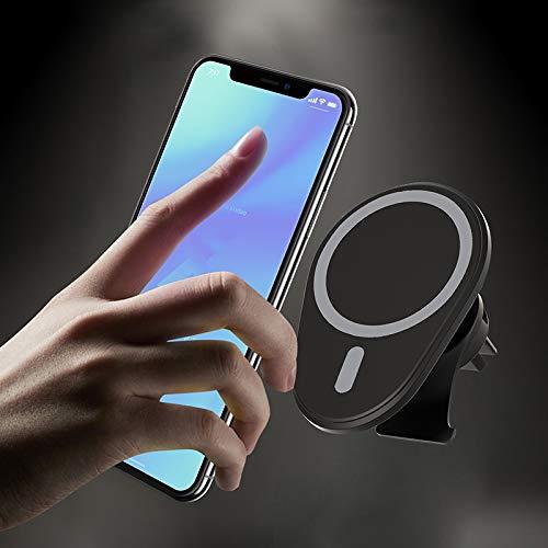 Niniaf, Cargador de coche para iPhone 12 Pro Max Mini de 15 W con soporte magnético para carga inalámbrica y soporte para teléfono móvil para carga rápida con Air Vent, color negro