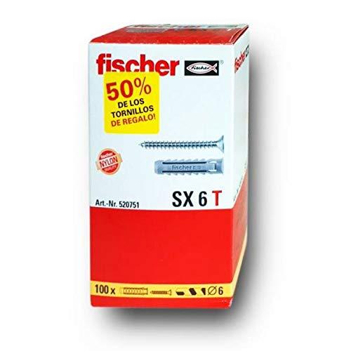 Fischer Taco SX T (Caja Tacos + 100 Tornillos), 520751, Gris, 6x30 / 4,5x40