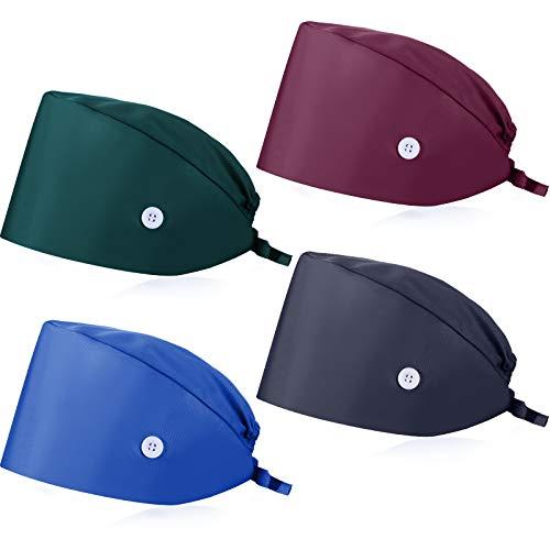 SATINIOR 4 Stücke Kürbisförmige Kappen mit Knopf Schweißband Verstellbare Füllig Kappen Krawatte Rücken Haar Abdeckung Hüte für Frauen Männer (Schwarzgrün, Marineblau, Trauben Lila, Königsblau)