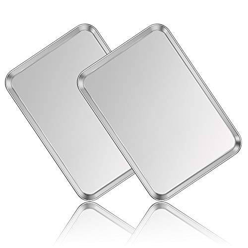Stainless Steel Baking Sheet Set of two, Deedro Cookie Sheet Metal Baking Pan Oven Tray, Non Toxic & Heavy Duty, Rust Free & Mirror Finish, Easy Clean & Dishwasher Safe, 20 x 14 x 1.3 Inch