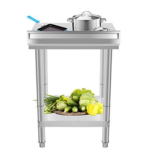 BuoQua 60x60 cm Edelstahltisch Gastro Edelstahl Arbeitstisch Silber Lebensmittel Zubereitungstisch Gewerbliche Arbeitstisch für Küche Bar Restaurant Mit Aufkantung