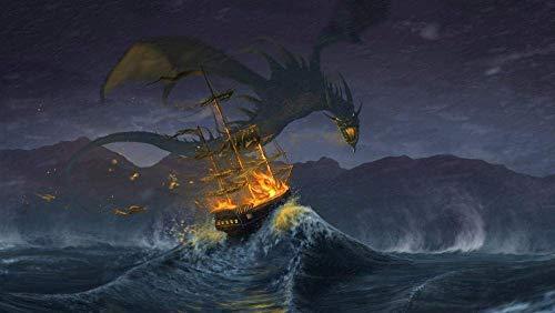 Puzzels 1000 stukjes voor volwassenen Kinderen Fantasie Draak Vliegen op een zeilboot Houten geschenken voor kinderen Puzzel Decompressie Decoupeerzagen