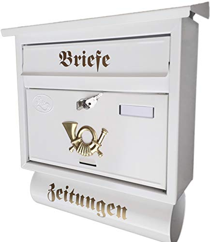 R&D Großer Briefkasten/Postkasten XXL Weiß mit Abnehmbarer Zeitungsrolle Flachdach Katalogeinwurf Zeitungsfach (Weiß)