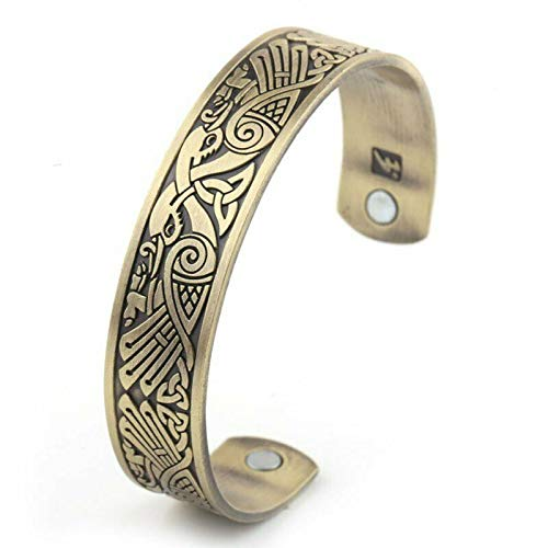 Сharm - 7 Inch Mens Norse Viking Irish Celtic Knot Arm Ring Raven Bangle Bracelet Brass- Ideal Gift for Birthday Valentine Christmas