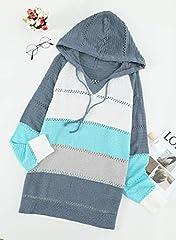 GOSOPIN Womens Casual Soft Cozy Pullover Tops Color Block Long Sleeve Tunic Sweatshirt Tops Drawstring Hoodie Blue Plus Size UK 18 #2