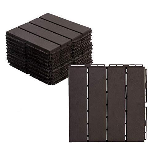AsterOutdoor Interlocking Deck Tile Plastic Waterproof Outdoor Flooring 12' x 12' for Patio Garden Deck Poolside Indoor Outdoor, 10 pcs, Brown (AOPB10P-B)