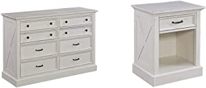 Home Styles Seaside Lodge White Dresser with Signature X Frame Panels, Ten Drawers, and Felt-Lined Drawers & Seaside Lodge Nightstand in White Finish, Wide Frame