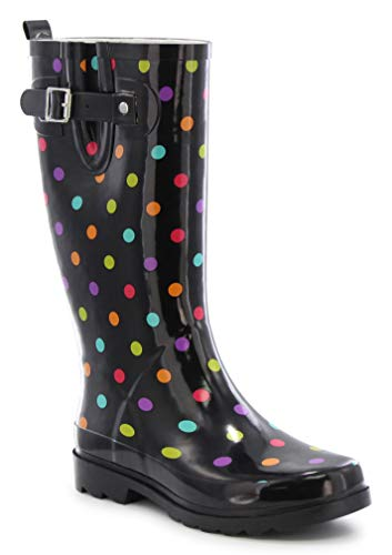 Western Chief Women's Printed Tall Waterproof Rain Boot, Dot City Black, 10