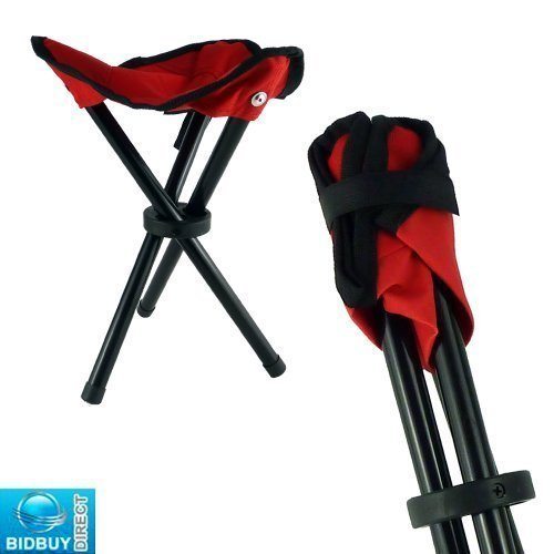 FOLDING TRIPOD MINI STOOL - METAL LEGS AND CANVAS SEAT - VERY STRONG DESIGN AND LIGHTWEIGHT - EASY OPEN & CLOSE - RUBBER TIPPED NON SLIP LEGS - FISHING / CAMPING / OUTDOORS - MULTI USES by Bid Buy Direct