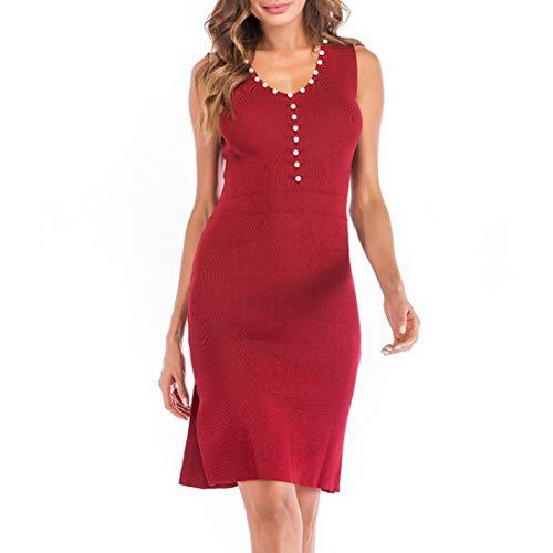 Bademode Strickkleider Ärmelloses, figurbetontes Minikleid mit V-Ausschnitt und Perlenaufteilung für Damen Bikinis (Farbe : Red, Size : L)