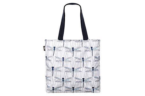 PULP Stylische geräumige Shopper Einkaufstasche Schultertasche Strandtasche Tasche Umhängetasche mit Reißverschluss Groß (Libellen)