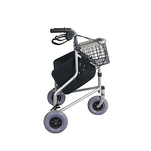 Silla de Ruedas plegable ligera Escaleras que suben Cuidado de la salud JL969H Caminadora compacta compacta fácil con ruedas, bolsa de compras Paño Oxford, carga 100 kg, peso 8.4 kg material PVC