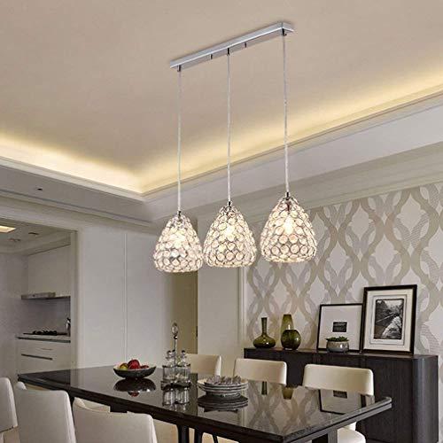 SZKP ▶ 3 * E27 Lámpara Lámpara colgante Lámpara de mesa de comedor Lámpara de araña colgante de cristal minimalista moderna Lámpara colgante de altura ajustable Lámpara de techo interior Lámpara colga