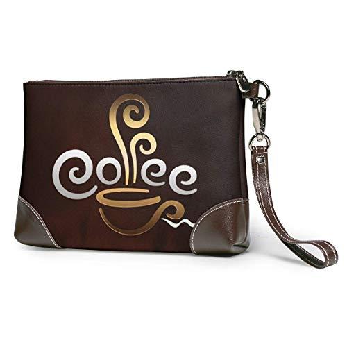 Lsjuee Leder Clutch Kaffeetasse Willkommen Wristlet Wallet für Frauen Damen