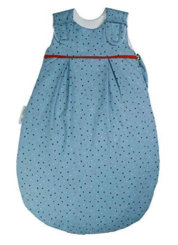 Picosleep Babyschlafsack für Jungen und Mädchen I blau mit Punkten I Baumwolle I ganzjährig I ohne Arm I mit Seitenreißverschluss (50/56)