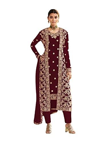 Muslimische Brautkleid, Georgette, schwere indische Hose, lange Jacke, Stil, Party, Kaftan 6298 - Rot - 5X-Large