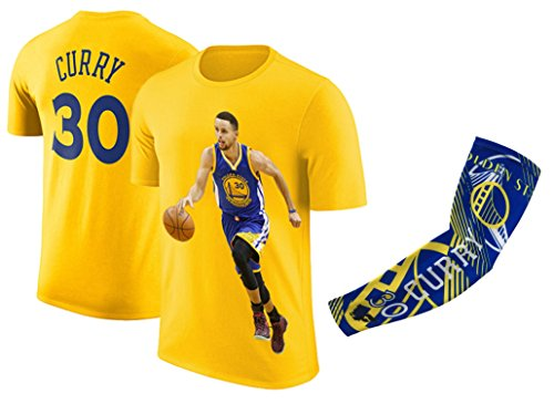 Steph Curry Jersey Style T-Shirt Kids Curry Yellow T-Shirt Gift Set Youth Sizes (YM 8-10 Years Old, Curry)