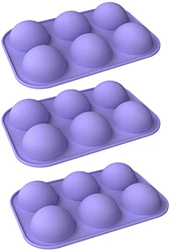 Silicone Molds For Baking,Chocolate Mold,6 Holes Round Silicone Baking Mold,Half Ball Sphere Silicone Cake Mold Muffin Chocolate Cookie Baking Mould Pan (3pcs purple)