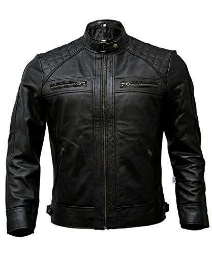 Mens Genuine Leather Biker Jacket Black   Vintage Brown Distressed Lambskin Motorcycle Jackets for Men (Black, Medium)