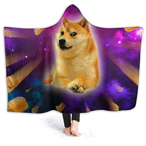 OLGCZM Wow Doge Doge Meme Bread Doge Shibe Space Super Soft Light Weight Throw Wearable Hooded Blanket Sherpa Fleece Summer Quilt for Bed Couch Sofa