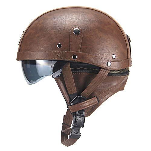 Retro PU Motorfiets Half Helm, Open Gezicht Met Vizier Motorfiets Scooter Cruise Veiligheid Harley helm, Voor seizoenen mannen en wieg